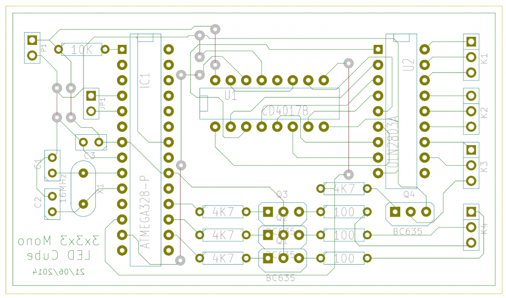 3x3x3 LED Cube PCB Layout