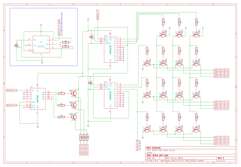 3x3x3 Mono LED Cube r1 Schematic