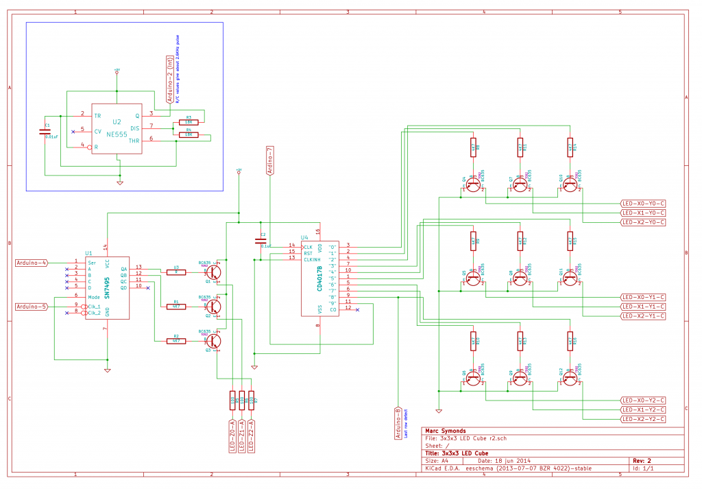 3x3x3 Mono LED Cube r2 Schematic