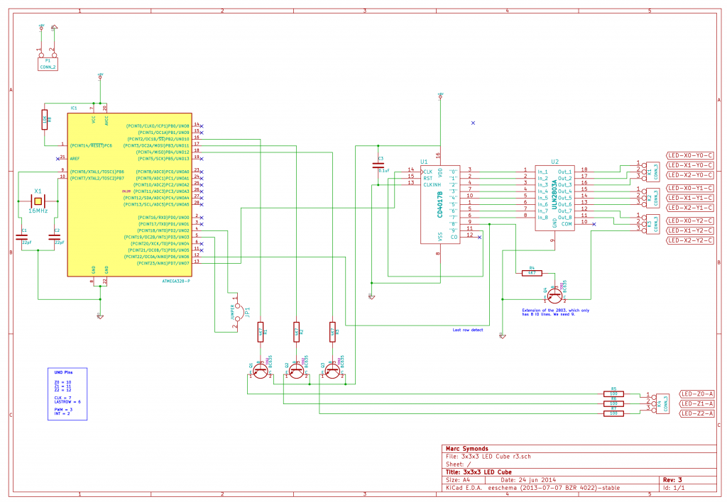 3x3x3 Mono LED Cube r3.5 Schematic